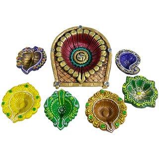 Saffron Craft Terracotta Colored Diya set of 7