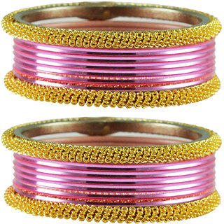 Pink Plain Brass Bangle