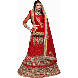 Awesome Bridal Embroidery Red Color Lahenga Choli