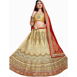 Enticing Bridal Embroidery CREAM Color Lahenga Choli