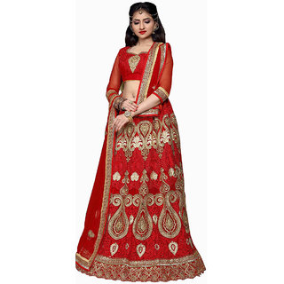 Excellent Bridal Embroidery Red Color Lahenga Choli