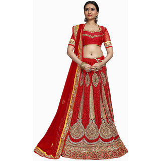 Enticing Bridal Embroidery Red Color Lahenga Choli