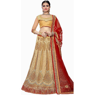 Awesome Bridal Embroidery CREAM Color Lahenga Choli