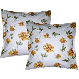 ShashiNanda Set of 2 Cotton Cusion Cover Size 40.3cm x 40.3 cm White Floral