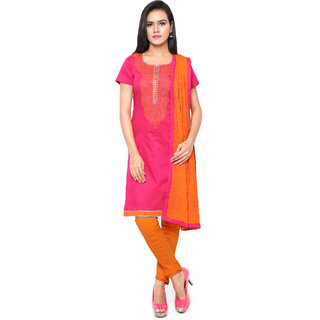 Sareemall Pink Embroidered Chanderi Dress Material With Matching Dupatta