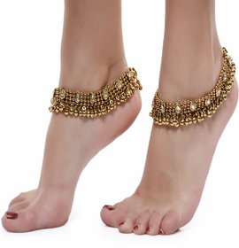 Dipali Gold Plated Gold Alloy Anklets For Women