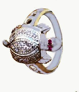 Ankit Collection Sterling Silver, CZ Turtle Ring, Size 17 (AC204FR#17)