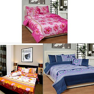 K Dcor Set of 3 Polyester Cotton 100 Thread Count Double Bedsheet With 6 Pillow Covers- Below 120 Thread Count (Set of 1)
