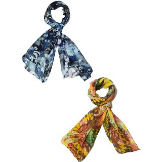 Fashion Junglee Beautiful Multicolor Poly Cotton, Set of two Floral Print Stole, Dupattas
