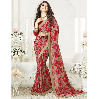 MY COUTURE Red Bordered Georgette