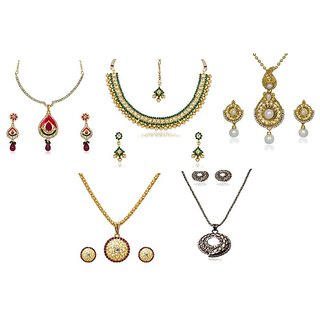 Kriaa Alloy Multicolor Set of 5 Jewellery Set