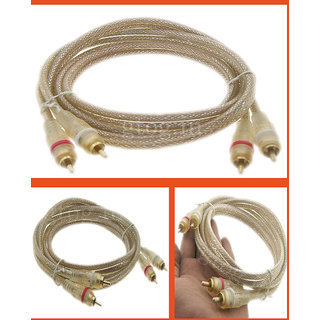 1.5M 2 Male RCA to 2 Male RCA Transparent Cable Gold Plated Connectors