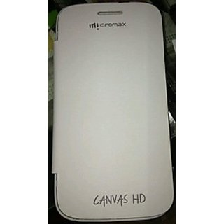 NEW MICROMAX CANVAS HD A116 FLIP COVER/CASE/POUCH WHITE COLOUR