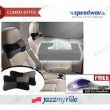 Speedwav Black And Grey Car Neck Cushion + Grey Tissue Box + Free Keychain