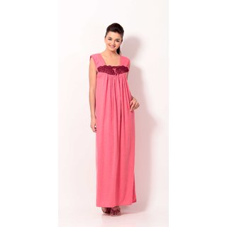 Klamotten Pink Cotton Plain Night Gowns & Nighty