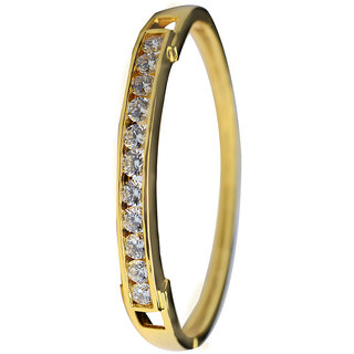 Glitters 22 Ct Gold Plated Partywear  CZ Bangle Kada for Women