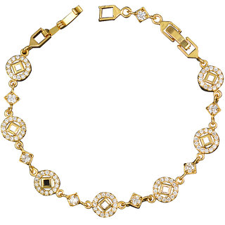 Glitters 24 Ct Gold Plated Cubic Zircon Adjustable Imported Bracelet for Girls. BRC1017