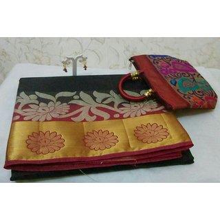 Rakshu Online Boutique Multicolor Art Silk Self Design Saree With Blouse