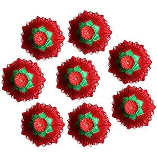 Unique Arts Red round flower Diwali Diyas - DD138 - Set of 8