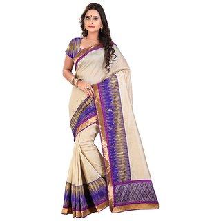 Threads Purple Art Silk Printed Saree With Blouse