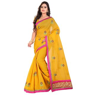 Threads Yellow Art Silk Printed Saree With Blouse