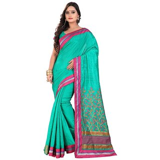 Threads Green Art Silk Printed Saree With Blouse