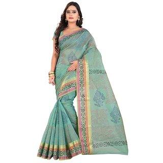 Threads Orange Art Silk Printed Saree With Blouse