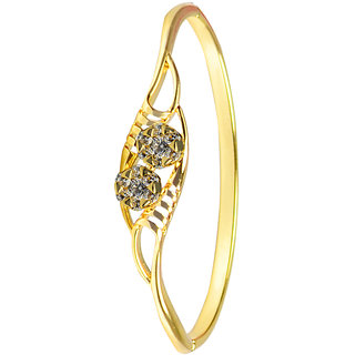 Glitters 22 Ct Gold Plated Partywear  Gold Plated CZ Bangle Kada for Women
