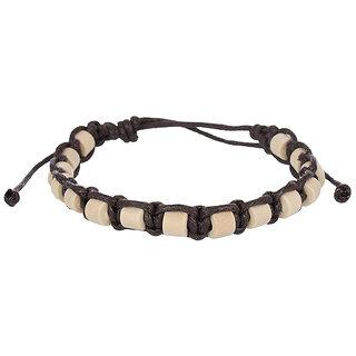 Grandiose Adjustable Brown and Beige Leather Unisex Bracelet (C421)