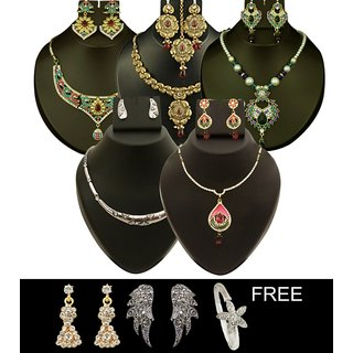 Kriaa Set of 8 Jewellery Combo - 1000127