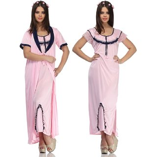 Belle Nuits Women's Solid Pink Nighty with Robe