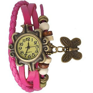 Grabito Round Dial Pink Leather Strap Womens Watch