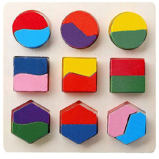 Imported Kids Wooden Geometry Block Puzzle #A