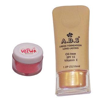 Vozwa Reddish Shimmer Powder with Liquid Foundation-(RedShimmerLiquidFoundation)