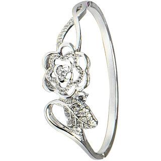 Glitters Floral Design Silver Rhodium CZ Bangle Kada for Women