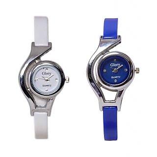 Glory  sangho BlueWhite Rubber Strap Womens Mechanical Watch
