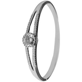 Glitters Partywear Silver Rhodium CZ Bangle Kada for Women