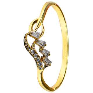 Glitters 22 Ct Gold Plated Partywear CZ Bangle Kada for Women
