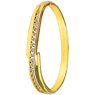 Glitters 22 Ct Gold Plated CZ Bangle Kada for Women