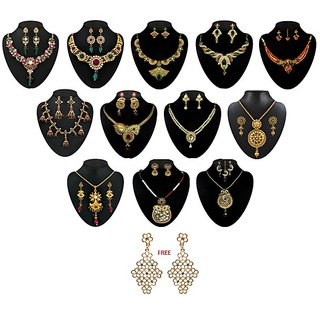 Kriaa Alloy Multicolor Set Of 5 Ethnic Jewellery Set With Free Gold Plated Kada