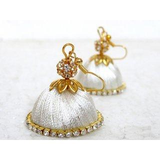 Handmade White Eye Ring Thread Jhumka
