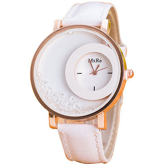 MXR White Color Moving Beads Analog Women Watches by sanbho hbu