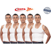 Rupa Jon Mens White Cotton Vests- Pack of 5