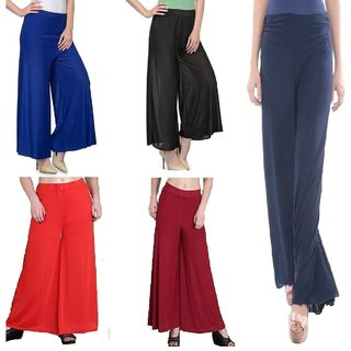 Combo pack (5) ,Regular fit Trousers,palazzo pant for girls,ladies and women