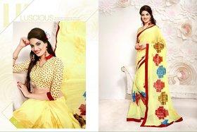 B D Saree Multicolor Art Silk Self Design Saree With Blouse