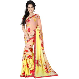 Karishma Yellow Georgette Lace Saree With Blouse