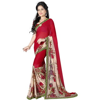 Karishma Red Georgette Lace Saree With Blouse