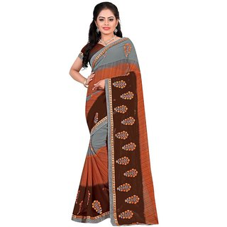 Karishma Brown Georgette Lace Saree With Blouse