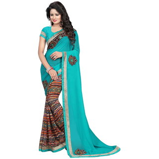 Karishma Blue Georgette Lace Saree With Blouse