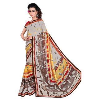 Karishma Grey Georgette Lace Saree With Blouse